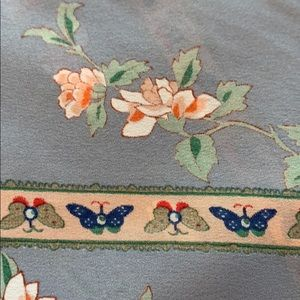 Accessories - Grey silk butterfly border lotus floral scarf